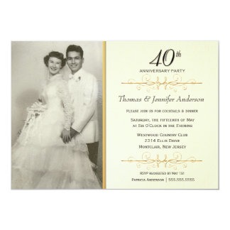 Elegant 40th Wedding Anniversary Party Invitations