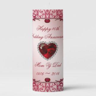 Elegant 40th Wedding Anniversary Pillar Candle