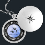 """Elegant 45th Sapphire Wedding Anniversary Locket Necklace<br><div class=""""desc"""">Celebrate the 45th sapphire wedding anniversary in style with this commemorative locket! Elegant black serif and sans serif lettering with hexagonal confetti on a sapphire blue background add a memorable touch for this special occasion and extraordinary milestone. Customize with the happy couple's names, and add a date for their sapphire...</div>"""