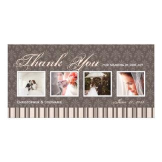 Elegant 4 Photo Wedding Thank You Photo Card