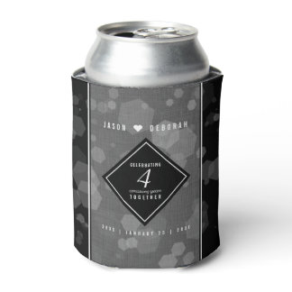 Elegant 4th Linen Wedding Anniversary Celebration Can Cooler