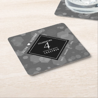 Elegant 4th Linen Wedding Anniversary Celebration Square Paper Coaster