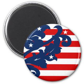 Elegant 4th of July damask 2 Inch Round Magnet