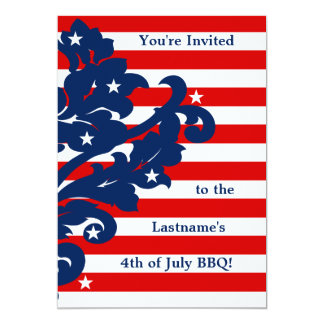 Elegant 4th of July damask party 5x7 Paper Invitation Card