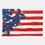 Elegant 4th of July damask red, white, and blue Towels