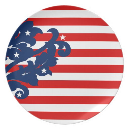 Elegant 4th of July damask red, white, and blue Dinner Plate