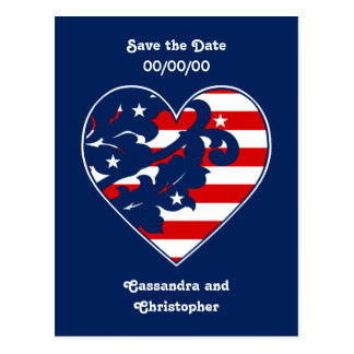 Elegant 4th of July damask red, white, and blue Post Card