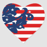 Elegant 4th of July damask red, white, and blue Heart Stickers