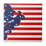 Elegant 4th of July damask red, white, and blue Tile