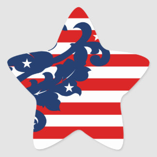Elegant 4th of July damask star Star Sticker