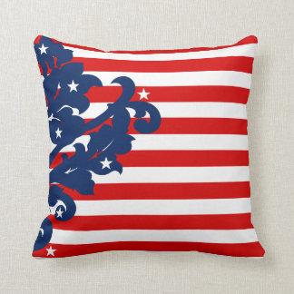 Elegant 4th of July damask Throw Pillow