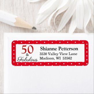 Elegant 50 & Fabulous 50th Birthday Red WH Address Label