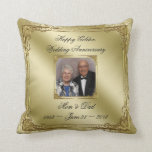 "Elegant 50 Wedding Anniversary Photo Throw Pillow<br><div class=""desc"">A Digitalbcon Images Design featuring a gold color and flourish design theme with a variety of custom images, shapes, patterns, styles and fonts in this one-of-a-kind &quot;Golden Wedding Anniversary&quot; Photo Throw Pillow. This elegant and attractive design comes complete with customizable text lettering and a customizable photo making this the ideal...</div>"