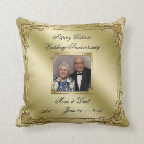 Elegant 50 Wedding Anniversary Photo Throw Pillow