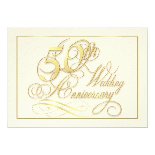 Elegant 50th Anniversary Invitations - Inexpensive
