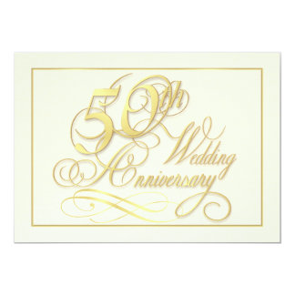 Elegant 50th Anniversary Invitations - Inexpensive