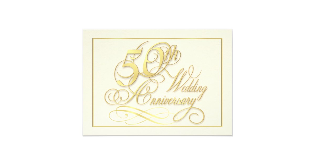 Cheap 50th Wedding Anniversary Invitations: Elegant 50th Anniversary Invitations