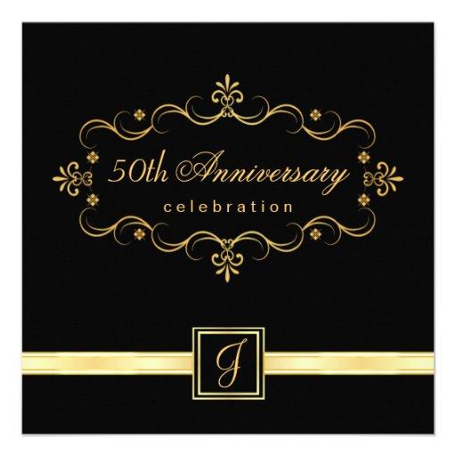 Elegant 50th Anniversary - Monogram Invitations