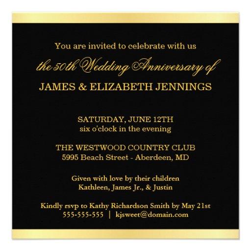 Elegant 50th Anniversary - Monogram Invitations (back side)