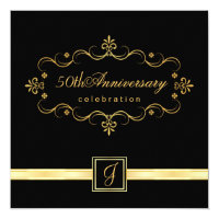 Elegant 50th Anniversary - Monogram Invitations