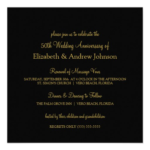 Elegant 50th Anniversary Party Vow Renewal Personalized Invitation (back side)