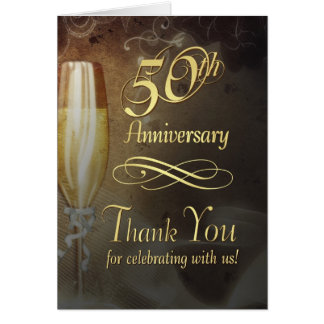 Elegant 50th Anniversary Thank You Cards - Vintage