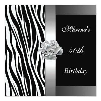 "Elegant 50th Birthday Black White Silver Zebra 5.25"" Square Invitation Card"