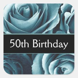 Elegant 50th Birthday Blue Roses Square Sticker