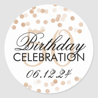 Elegant 50th Birthday Copper Foil Glitter Lights Classic Round Sticker