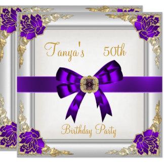 Elegant 50th Birthday Floral Purple White Gold 2 Card
