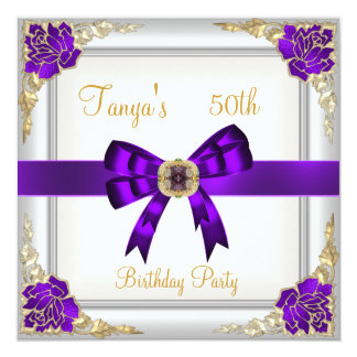 Elegant 50th Birthday Floral Purple White Gold 2 Card