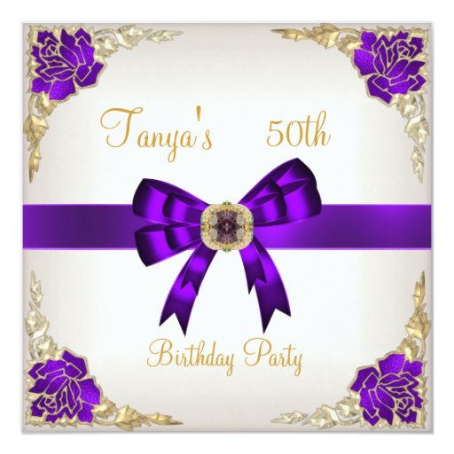 Elegant 50th Birthday Floral Purple White Gold 3 Card