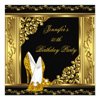 Elegant 50th Birthday Gold Black Gold High Heels 5.25x5.25 Square Paper Invitation Card