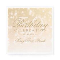 Elegant 50th Birthday Gold Bokeh Sparkle Lights Paper Napkin