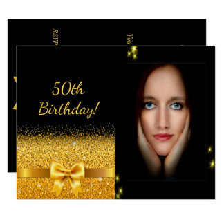 Elegant 50th birthday invitation black gold photo