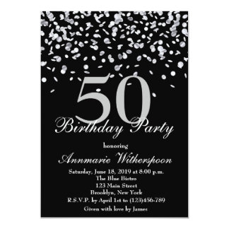 Elegant 50th Birthday Invitation Silver Confetti