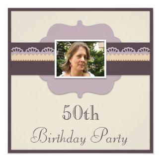 Elegant 50th Birthday Party Add Your Photo Card