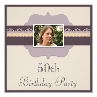 Elegant 50th Birthday Party Add Your Photo Personalized Announcements