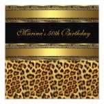 Elegant 50th Birthday Party Black Gold Cheetah 2 Invite