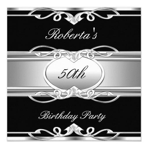 Elegant 50th Birthday Party Black Silver 50 Personalized Invitations