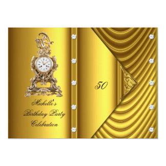 Elegant 50th Birthday Party Clock Gold Metallic Card