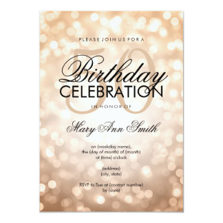 Elegant 50th Birthday Party Copper Glitter Lights Card