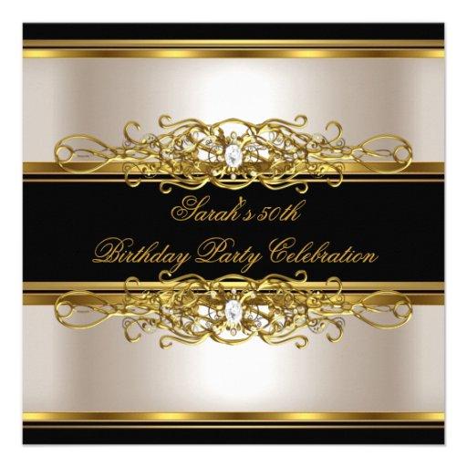 Personalized birthday party gold 50th birthday invitations elegant 50th birthday party cream gold black personalized invitations filmwisefo Images