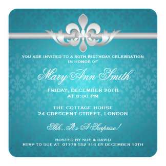 Elegant 50th Birthday Party Fleur De Lis Turquoise Invitation