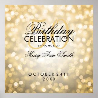 Elegant 50th Birthday Party Glitter Lights Gold Poster