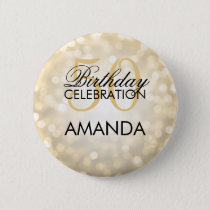 Elegant 50th Birthday Party Gold Glitter Lights Button