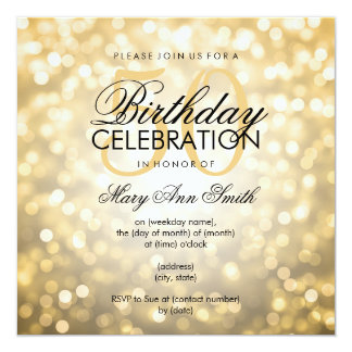 elegant_50th_birthday_party_gold_glitter_lights_card r3c1101123436496e9f14fa128b7b337d_zk9yv_324?rlvnet=1 elegant 50th birthday invitations & announcements zazzle,Elegant Birthday Invitations