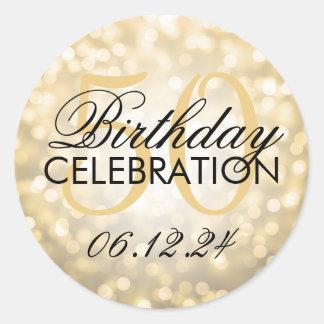 Elegant 50th Birthday Party Gold Glitter Lights Classic Round Sticker
