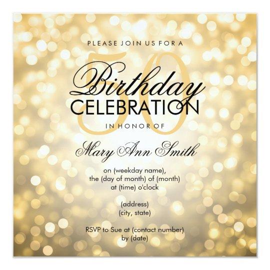 Elegant 50th Birthday Party Gold Glitter Lights Invitation