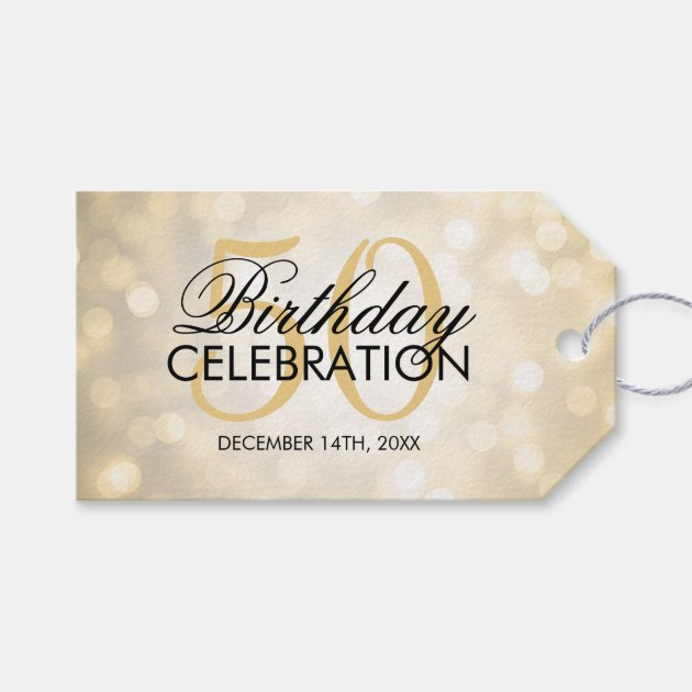 Elegant 50th Birthday Party Gold Glitter Lights Pack Of Gift Tags
